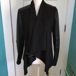 Fabric/Faux leather cardigan